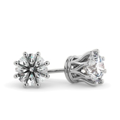 HER43 Round Stud Diamond Earrings - white