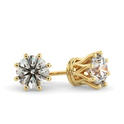 HER43 Round Stud Diamond Earrings - yellow