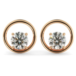 HER45 Round Stud Diamond Earrings - rose