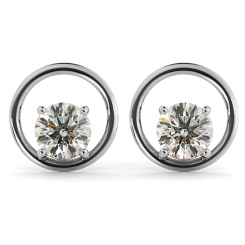 HER45 Round Stud Diamond Earrings - white