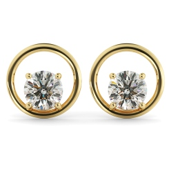 HER45 Round Stud Diamond Earrings - yellow