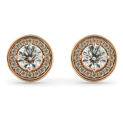 HER60 Round cut Halo Designer Diamond Earrings - rose