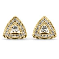 HER61 Triangular Halo Round cut Designer Diamond Earrings - yellow