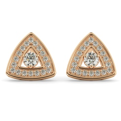 HER61 Triangular Halo Round cut Designer Diamond Earrings - rose