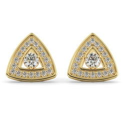 HER61 Triangular Halo Round cut Designer Diamond Earrings - yellow