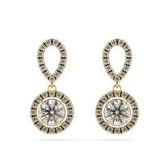 HER62 Micro set Round cut Halo Drop Diamond Earrings - yellow