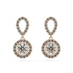 HER62 Micro set Round cut Halo Drop Diamond Earrings - rose