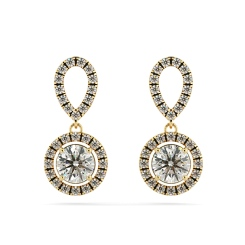 HER62 Micro set Round cut Halo Drop Diamond Earrings - yellow