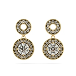 HER63 Double Round Halo Dangling Diamond Earrings - yellow