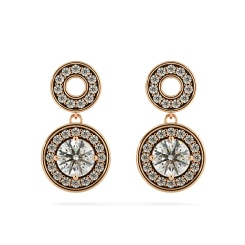 HER63 Double Round Halo Dangling Diamond Earrings - rose