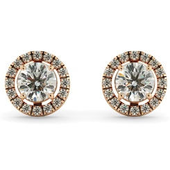 HER64 Round Micro set Halo Designer Diamond Earrings - rose
