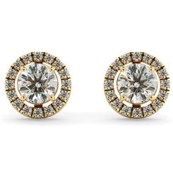 HER64 Round Micro set Halo Designer Diamond Earrings - yellow