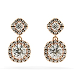 HER68 Round cut Cushion Double Halo Diamond Earrings - rose