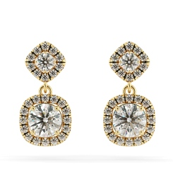 HER68 Round cut Cushion Double Halo Diamond Earrings - yellow