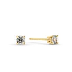 HER94 0.20ct Round cut Stud Diamond Earrings - yellow