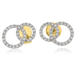 HERCL105 Round cut Twin Circle Diamond Earrings - yellow