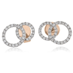 HERCL105 Round cut Twin Circle Diamond Earrings - rose