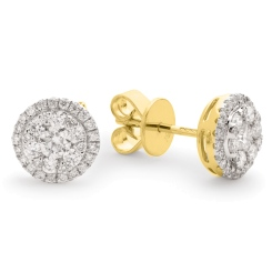 HERCL106 Round cut Halo Cluster Diamond Earrings - yellow