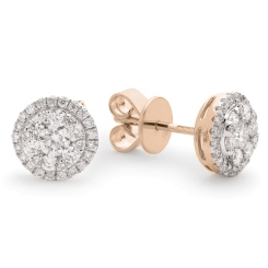 HERCL106 Round cut Halo Cluster Diamond Earrings - rose