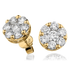 HERCL110 Round cut Cluster Diamond Earrings - yellow