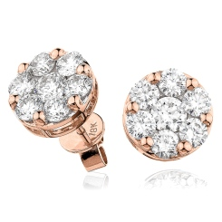 HERCL110 Round cut Cluster Diamond Earrings - rose