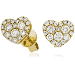 HERCL115 Heart Shaped Round cut Cluster Diamond Earrings - yellow