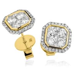 HERCL116 Bezel set Round cut Cluster Diamond Earrings - yellow