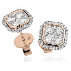 HERCL116 Bezel set Round cut Cluster Diamond Earrings - rose