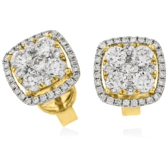 HERCL117 Cushion Halo Round cut Cluster Diamond Earrings - yellow