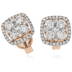HERCL117 Cushion Halo Round cut Cluster Diamond Earrings - rose