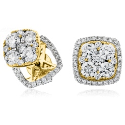 HERCL120 Changeable Cushion Halo Round cut Cluster Diamond Earrings - yellow