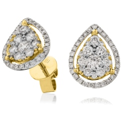 HERCL121 Tear Drop Halo Round cut Cluster Diamond Earrings - yellow