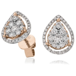 HERCL121 Tear Drop Halo Round cut Cluster Diamond Earrings - rose