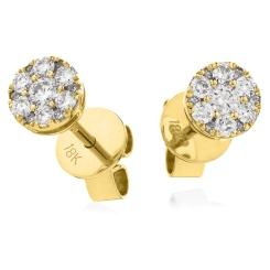 HERCL140 Design Brilliant Cut Cluster Diamond Earrings - yellow