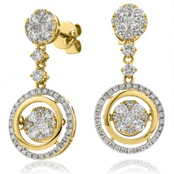 HERCL192 Designer Movable Round  Diamond Earrings - yellow