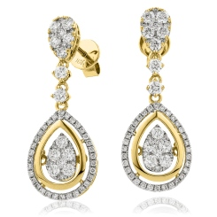 HERCL193 Tear Designer Movable Diamond Earrings - yellow