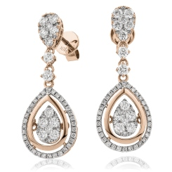 HERCL193 Tear Designer Movable Diamond Earrings - rose
