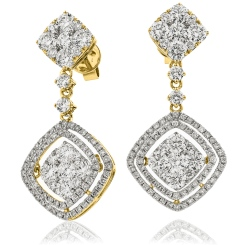 HERCL194 Designer Cluster Movable Diamond Earrings - yellow