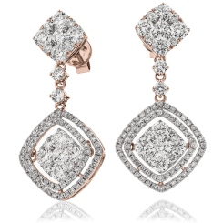 HERCL194 Designer Cluster Movable Diamond Earrings - rose