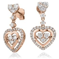 HERCL197 Heart Shape Movable Diamond Earrings - rose