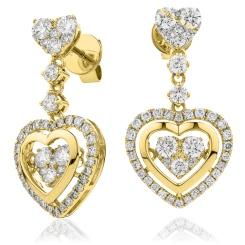 HERCL197 Heart Shape Movable Diamond Earrings - yellow