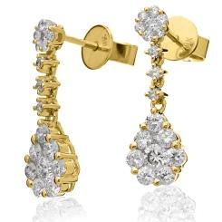 HERCL220 Designer Cluster Drop Diamond Earrings - yellow