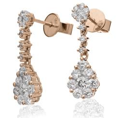 HERCL220 Designer Cluster Drop Diamond Earrings - rose