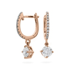HERCL243 Solitaire Diamond Drop Earrings - rose