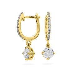 HERCL243 Solitaire Diamond Drop Earrings - yellow