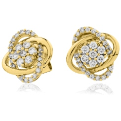 HERCL95 Round cut Infinity Cluster Diamond Earrings - yellow