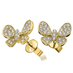 HERCL96 Round cut Butterfly Diamond Cluster Earrings - yellow