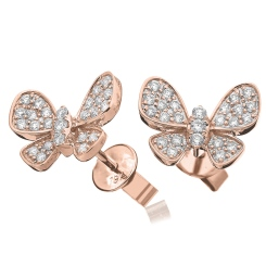 HERCL96 Round cut Butterfly Diamond Cluster Earrings - rose