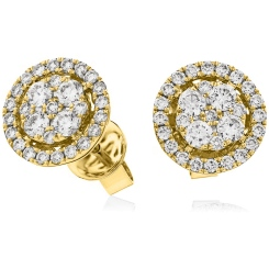 HERCL98 Round cut Halo Cluster Diamond Earrings - yellow