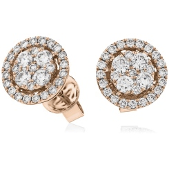 HERCL98 Round cut Halo Cluster Diamond Earrings - rose